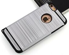 Slim Armor Shockproof Rugged Hard Case Cover Skin Brush Metal Silver i