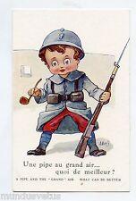 WW1 .A. WUYTS .Patriotique .POILU.Enfant. Une pipe au grand air. Child patriotic