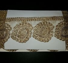 Gold sequin asian indian lace net mariage danse costume ruban maille strass