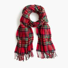 NWT J.CREW Tartan Scarf CERISE BLACK GREEN H3794 Made In Italy red plaid blanket