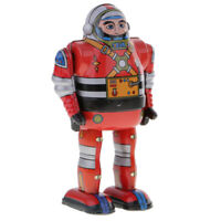 Retro Wind Up Clockwork Mechanical Walking Tin Astronaut Robot