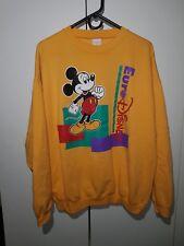 Vintage Disney Mickey Mouse Euro Yellow Sweater RARE Size XL Casual Fashion