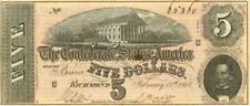 Civil War $5 Dollars Confederate Currency Banknote 1864 Xf