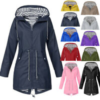 Women Rain Jacket Outdoor Plus Size Waterproof Hooded Windproof Loose Coat DZ