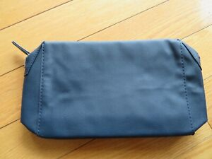 LANCOME navy blue leatherette zipper make~up bag/evening clutch, silver hdwe