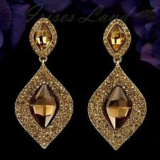18K Gold Plated Topaz Crystal Rhinestone Chandelier Drop Dangle Earrings 00086