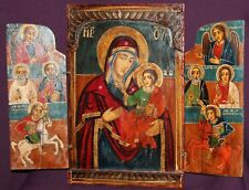 VINTAGE HAND PAINTED ORTHODOX ICON TRIPTYCH VIRGIN MARY CHRIST CHILD