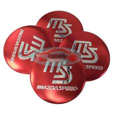 4pcs Red 55mm Car Wheel Center Hub Caps Emblem Badge Decals Sticker For Mazda3 6