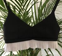 Topshop Black And White Frill Bralet Size 8