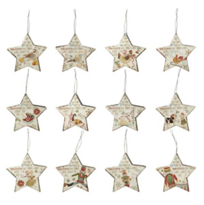 Heaven Sends 12 Days of Christmas Hanging Xmas Decoration Metal Star 3D Bucket