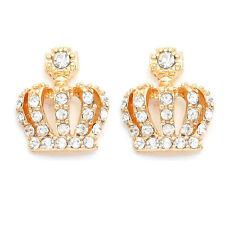 Mens Hip Hop Fashion Crystal Crown Stud Earrings Gold