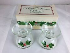 Vintage Avon Glass Candle Holders 1981 Holiday Poinsettia Holly Berry Christmas