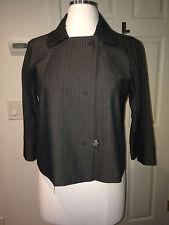 NWT Kenneth Cole gray black striped career blazer jacket cropped raglan sleeve M