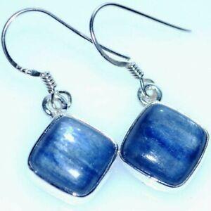 Blue KYANITE Drop Earrings 925 Sterling Silver Jewellery Genuine Gemstones Gifts
