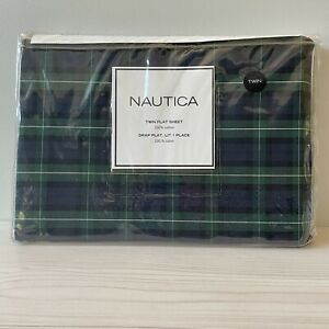 NIP Nautica Twin Flat Sheet Blackwatch Plaid 100% Cotton Blue Green