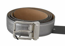 DOLCE & GABBANA Belt Silver Gray Leather Shiny Metal Buckle s. 95cm / 38in $400