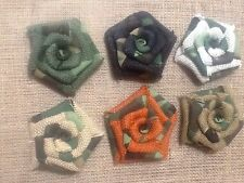 Six Burlap Flowers Camouflage Camo Hunting Cabin Decor Outdoor Table Wreath