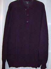 Banana Republic Men's Striped Extra-Fine Merino Henley Sweater NWT Cherry XXL
