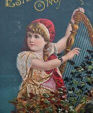 ANTIQUE TRADE CARD ESTEY ORGAN CO Brattleboro VT Burlington US HARP MUSIC piano