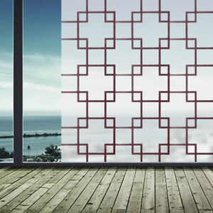 45x100/200cm PVC Self-Adhesive Glass Film Window Sticker Brown Lattice Bathroom