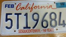 "CALIFORNIA ""SESQUICENTENNIAL-150 YEARS ""  License Plate 5T19684"