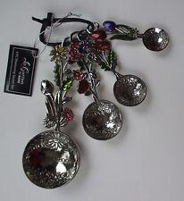 o Floral bouquet color MEASURING SPOON SET 4 pc Ganz housewarming kitchen metal