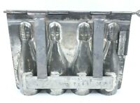 Antique German Chocolate Mold 4 Champagne Bottles