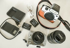Canon Eos M2 white + double lens kit 22mm, 18-55mm + flash & other accessories