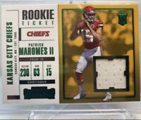 2017 Panini Contenders Patrick Mahomes Rookie Ticket Jersey Patch Emerald RC 💎