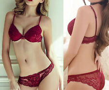 Sexy's Fine Lace Embroidery Deep V Push Up Lingerie Women Bra and panties Sets