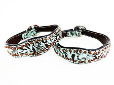 """18"""" HANDMADE WESTERN STYLE TEAL ANTIQUED FLORAL LEATHER K9 CANINE DOG COLLAR"""