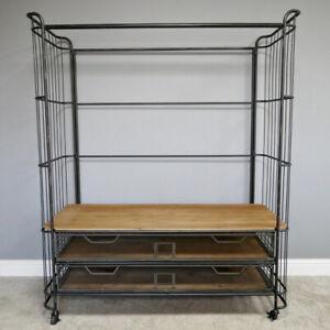 Industrial 2 Drawer Wardrobe Coat Rail Metal Frame Bedroom Clothes Storage Rack
