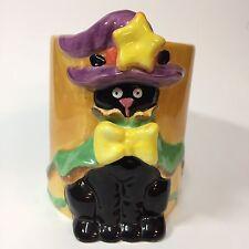 Halloween Coffee Cup Mug Black Cat Purple Witch Hat Green Cape Yellow Bow Stars