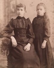 1890's CUTE Young SISTERS School Girls CABINET CARD PHOTO Amsterdam New York