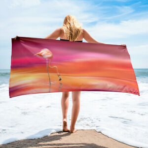 Flamingo Themed Bath or Beach Towel Orange and Pink Colors