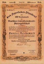 GERMANY : GERMAN  MORTGAGE BOND 100 Reichsmark dd 1940
