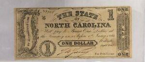 1862 $1 One Dollar North Carolina Note VERY Fine