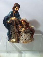 Nativity Candle Holder-Christmas-Religiou s-Ceramic-Free Ship-New