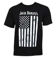 Jack Daniels Men's Distressed Flag Short Sleeve T-Shirt Tee, Black 15261489JD-89