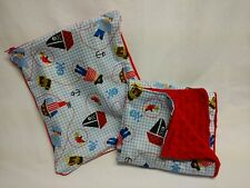Matching Handmade Changing Pad & Wet Bag, Red Minky Pirates PUL fabric
