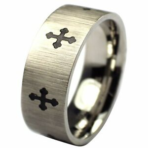 Knights Templar Ring Men's Stainless Steel Medieval Cross Band Sizes 7-12 8mm