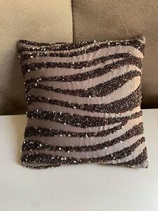💙 Donna Karan Home Decorative Pillow 💙 Brown Beaded