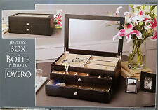 Jewelry Box Dark Wood with Clear Glass View Top & Two Drawers - New