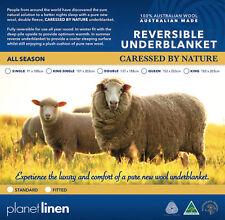 Queen Size Bed Australian Made 100% Wool Reversible Underblanket Underlay Topper