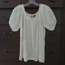 Fei Anthropologie Women's Ivory Sheer Pleated Scoop Neck Peasant Shirt Size S