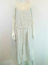 Tu sz 20 White dress Black Polka Dots Strappy Long Holiday Maxi NEW with tags