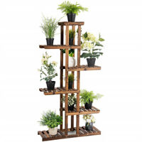 Flower Rack Wood Plant Stand 7 Wood Shelves 11 Pots Bonsai Display Shelf Indoor