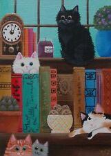 ACEO original/home library book kitties/cat/miniature/acrylic/OOAK/painting/art