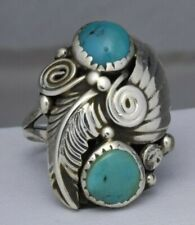 Alfred Payton Sterling Silver Turquoise Feather Ring Size 6.25