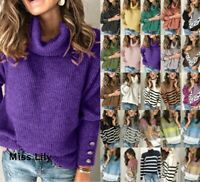 Womens Plussize winter Cosy Tops sweater Skinny jumper Long Sleeve Knitted